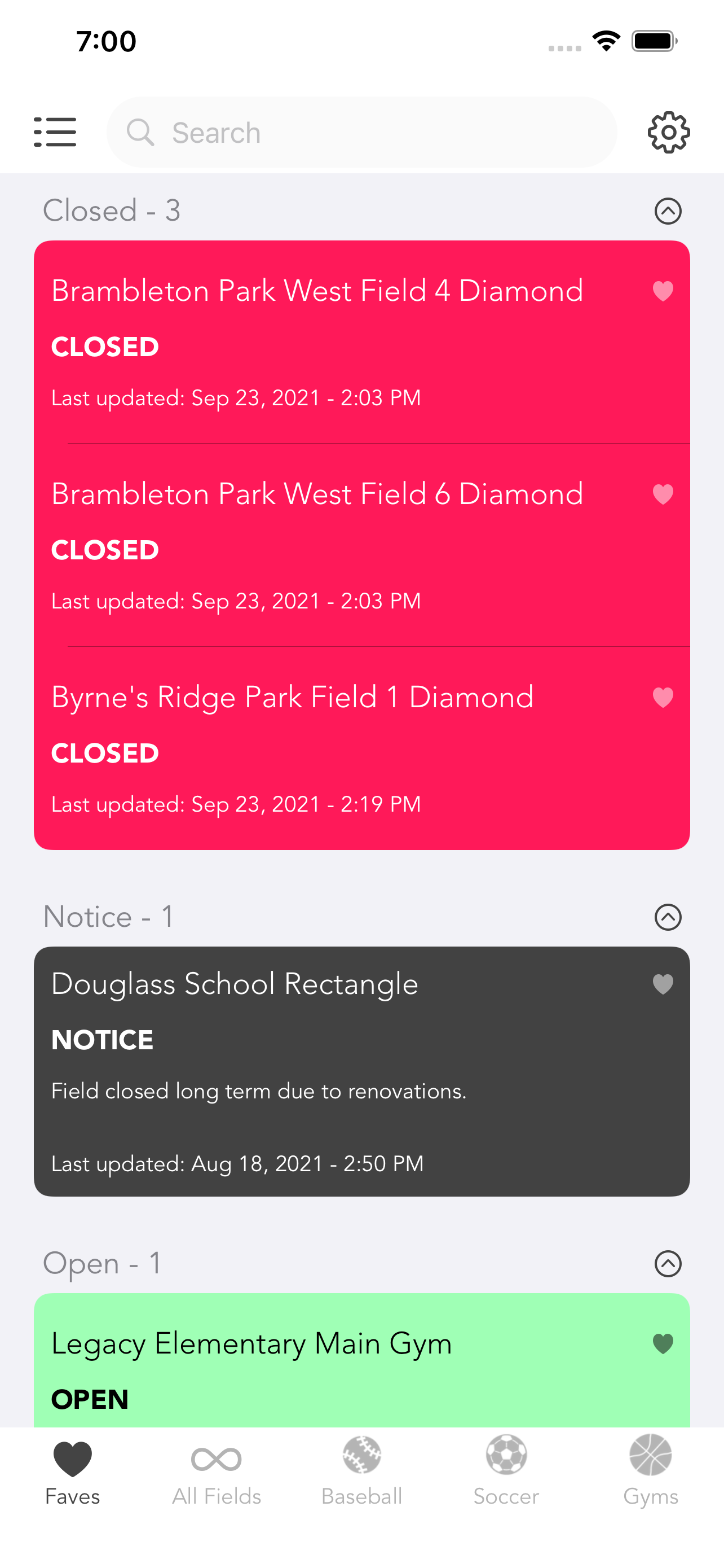 A screen shot of Loudoun County Field Status for iPhone and iPod Touch.